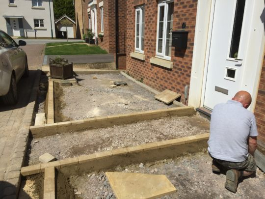 Block Edgings Being Installed