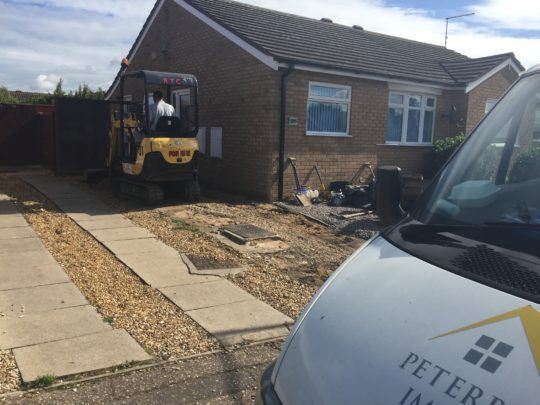 Driveway being excavated in Stanground Peterborough
