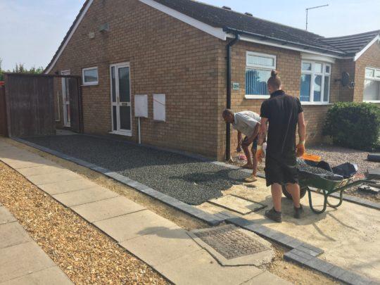 Resin being trowelled in Peterborough